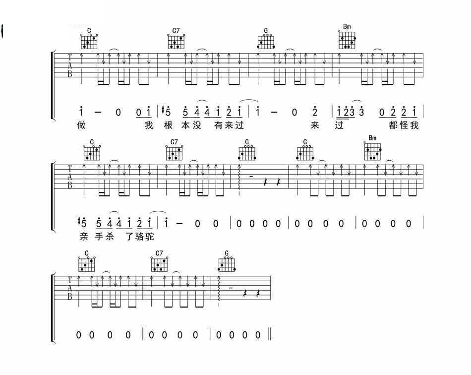 骆驼_薜之谦_图片谱标准版 吉他谱 图3